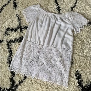DKNY white off the shoulder shirt